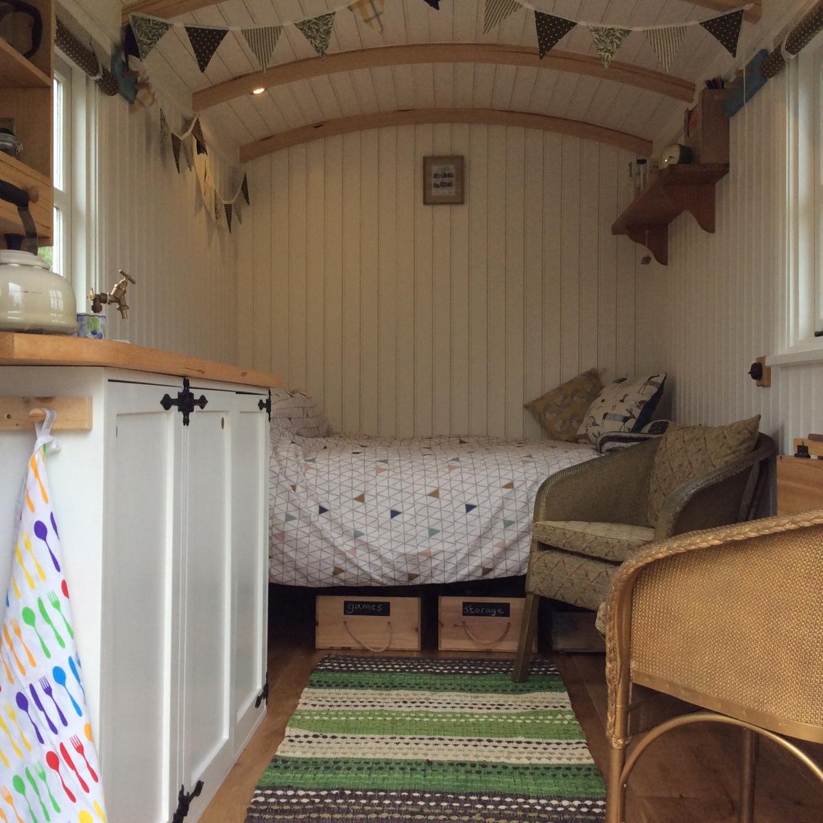 interior of shepherds hut