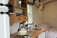 interior of cosy shepherds hut
